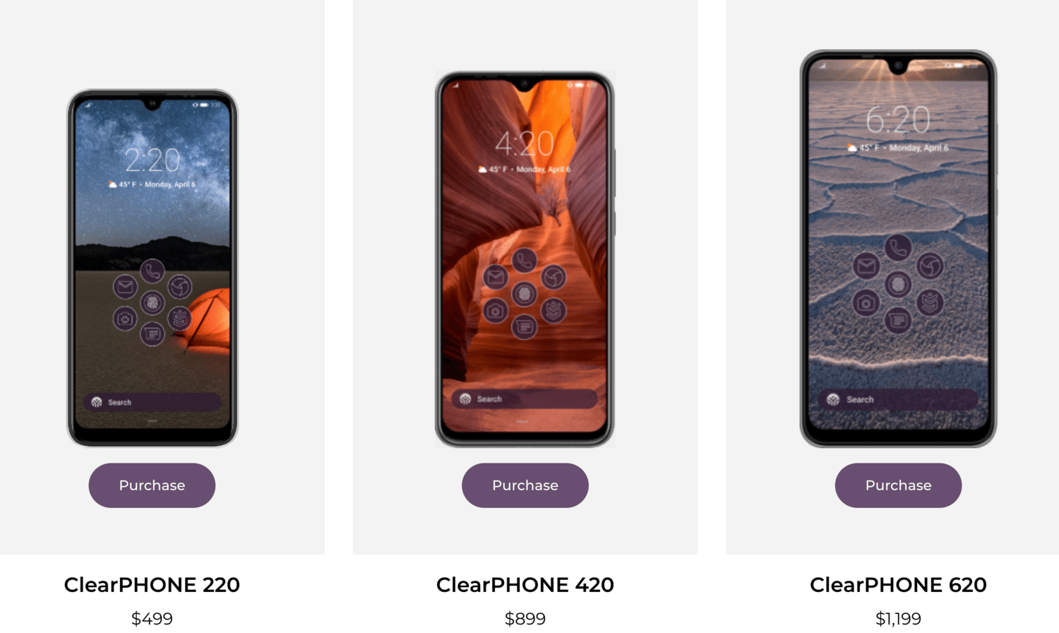 CLEARphone´s three currently available models